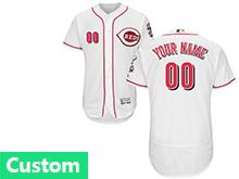 Mens Majestic Cincinnati Reds (custom Made) White Flex Base Jersey