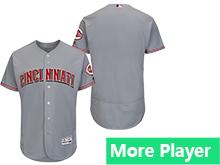 Mens Majestic Cincinnati Reds Gray Flex Base Jersey