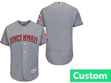 Mens Majestic Cincinnati Reds Custom Made Gray Flex Base Jersey