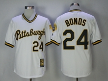 Mens Mlb Majestic Pittsburgh Pirates #24 Barry Bonds White Throwbacks Pullover Jersey(new Style)