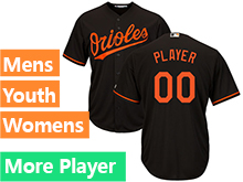 Mens Womens Youth Majestic Baltimore Orioles Black Cool Base Jersey