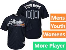 Mens Womens Youth Majestic Atlanta Braves Navy Cool Base Jersey