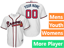 Mens Womens Youth Majestic Atlanta Braves White Cool Base Jersey