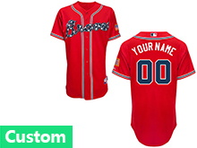 Mens Women Youth Mlb Atlanta Braves (custom Made) Red Cool Base Jersey