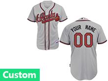 Mlb Mens Women Youth Atlanta Braves Custom Made Grey Cool Base Jersey