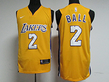 Mens Nba Nike Los Angeles Lakers #2 Lonzo Ball Gold Jersey