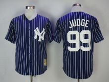 Mens Mlb New York Yankees #99 Aaron Judge Blue (white Stripe) 1973 Turn Back Jersey
