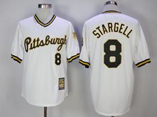 Mens Majestic Pittsburgh Pirates #8 Willie Stargell White Pullove Throwback Cool Base Jersey