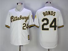 Mens Majestic Pittsburgh Pirates #24 Barry Bonds White Throwback Cool Base Jersey