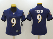 Women Nfl Baltimore Ravens #9 Justin Tucker Purple Vapor Untouchable Limited Jersey