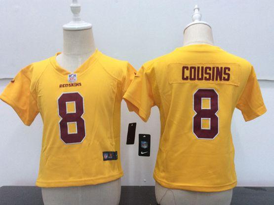Kids Nfl Washington Redskins #8 Kirk Cousins Gold Game Jersey
