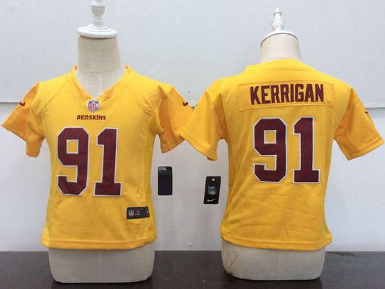 Kids Nfl Washington Redskins #91 Ryan Kerrigan Gold Game Jersey