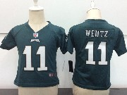 Kids Nfl Philadelphia Eagles #11 Carson Wentz Dark Green Game Jersey