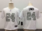 Kids Nfl Oakland Raiders #24 Marshawn Lynch White Silver Number Game Jersey