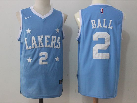 Mens Nba Los Angeles Lakers #2 Lonzo Ball Blue Nike Jersey