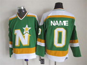 Mens Nhl Dallas Stars Custom Made Green(white Shoulder) Throwbacks Ccm Jersey