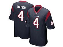 Mens Houston Texans #4 Deshaun Watson Nike Nave Blue 2017 Draft Pick Game Jersey