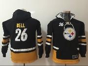Youth Nfl Pittsburgh Steelers #26 Le'veon Bell Black Pocket Team Hoodie Jersey