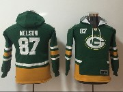 Youth Nfl Green Bay Packers #87 Jordy Nelson Green Pocket Team Hoodie Jersey