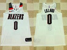 Mens Nba Portland Trail Blazers #0 Damian Lillard White Nike Thick Stitch Jersey
