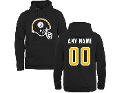 Mens Nfl Pittsburgh Steelers Custom Made Black Hoodie