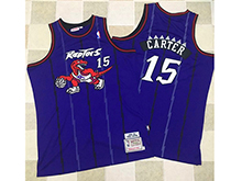 Mens Nba Toronto Raptors #15 Vince Carter Purple Hardwood Classics Thick Stitch Jersey