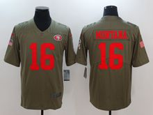 Mens Nfl San Francisco 49ers #16 Joe Montana Green Olive Salute To Service Limited Nike Jersey
