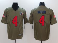 Mens Nfl Houston Texans #4 Deshaun Watson Green Olive Salute To Service Limited Nike Jersey