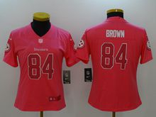 Women Nfl Pittsburgh Steelers #84 Antonio Brown Pink Vapor Untouchable Limited Jersey