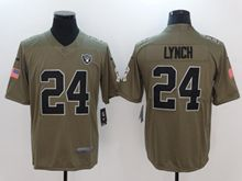 Mens Women Youth Nfl Oakland Raiders #24 Marshawn Lynch Green Olive Salute To Service Limited Nike Jersey