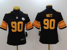 Women Pittsburgh Steelers #90 T. J. Watt Black Color Rush Limited Jersey