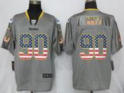 Mens Nfl Pittsburgh Steelers #90 T. J. Watt Gray (2014 Usa Flag Fashion) Elite Jersey
