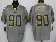 Mens Nfl Pittsburgh Steelers #90 T. J. Watt Lights Out Gray Elite Jersey