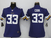 Women   Minnesota Vikings #33 Dalvin Cook Purple Vapor Untouchable Limited Jersey