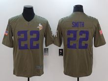 Mens Youth Nfl Minnesota Vikings #22 Harrison Smith Green Olive Salute To Service Limited Nike Jersey