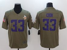 Mens Nfl Minnesota Vikings #33 Dalvin Cook Green Olive Salute To Service Limited Nike Jersey