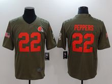 Mens Nfl Cleveland Browns #22 Peppers Green Olive Salute To Service Limited Nike Jersey
