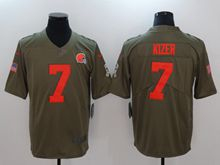 Mens Nfl Cleveland Browns #7 Deshone Kizer Green Olive Salute To Service Limited Nike Jersey