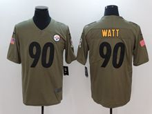 Mens Women Youth Nfl Pittsburgh Steelers #90 T. J. Watt Green Olive Salute To Service Limited Nike Jersey