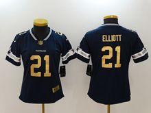 Women Dallas Cowboys #21 Ezekiel Elliott Blue Gold Number Vapor Untouchable Limited Jersey