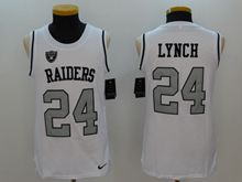 Mens Nfl Oakland Raiders #24 Marshawn Lynch White Color Rush Tank Top Jersey