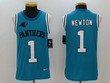 Mens Nfl Carolina Panthers #1 Cam Newton Blue Tank Top Jersey