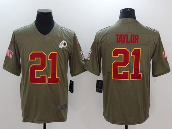 Mens Nfl Washington Redskins #21 Sean Taylor Green Olive Salute To Service Limited Nike Jersey