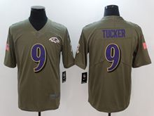 Mens Women Nfl Baltimore Ravens #9 Justin Tucker Green Olive Salute To Service Limited Nike Jersey