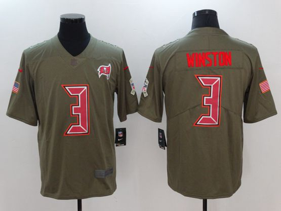 Mens Women Youth Nfl Tampa Bay Buccaneers #3 Jameis Winston Green Olive Salute To Service Limited Nike Jersey