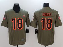 Mens Women Youth Nfl Cincinnati Bengals #18 A.j.green Green Olive Salute To Service Limited Nike Jersey