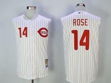 Mens Mlb Cincinnati Reds #14 Pete Rose White Red Stripe Tank Top Jersey