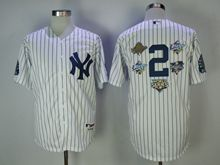 Mens Mlb New York Yankees #2 Derek Jeter White Blue Stripe 5 World Series Patches Cool Base Jersey