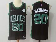 Mens Nba Boston Celtics #20 Gordon Hayward Black Green Number Nike Jersey