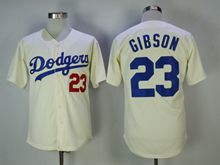 Mens Mlb Los Angeles Dodgers #23 Gibson Cream Cool Base Jersey